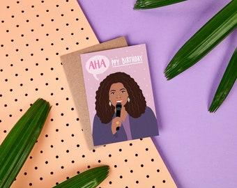 Oprah Winfrey Birthday Card - Super Soul Sessions - Oprah Card - TV Show - Talk Show - USA - Celebrity Card - AHA moment - Oprah - funny