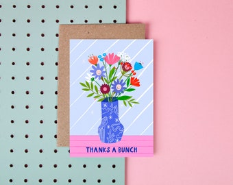 Thanks A Bunch - Thank You Card - Cute - Floral Card - Flowers - Puns - Thinking of you card - Cute card - Thank you for card
