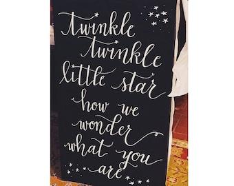 As Seen on Pinterest: Printable Gender Reveal Calligraphy Sign   Digital Download   Twinkle Twinkle Little Star