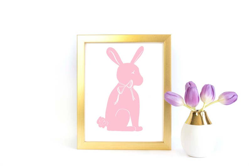 picture about Bunny Silhouette Printable referred to as Printable Artwork: Bunny Silhouette in just Red Nursery Childrens Prints  Wall Decor