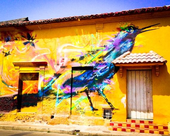 Getsemani Graffiti Art Bird Cartagena Colombia Etsy