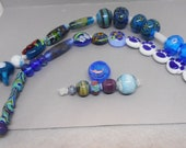 Bulk blue lampwork beads 1, 34 count orphan and seconds beads