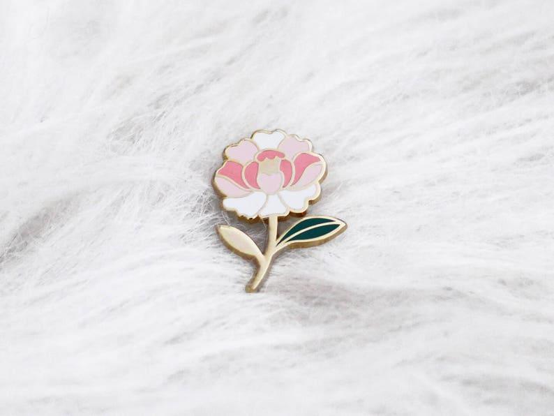 b34e5937859 Pins peony flower flower enamel lapel pin peony Badge   Etsy