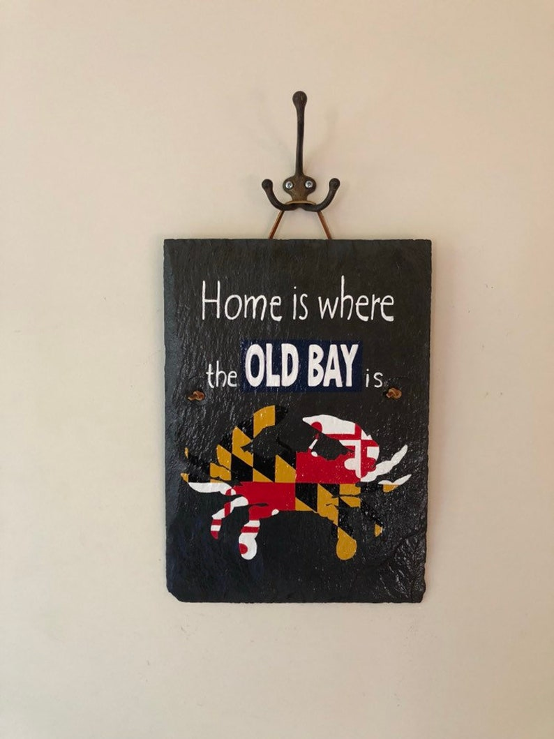 Rustic Nautical Repurposed Hand Painted Old Bay Maryland Crab Slate