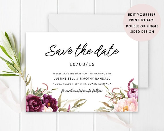 Floral DIY Wedding Save the Date Card, Digital, Instant Download, Red  Flower Save The Date, Printable Template, Justine Suite