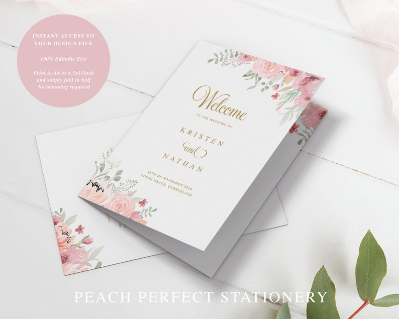 Folded Wedding Program Template with Pink Florals Gold and Pink Order of Service Booklet Cover Kristen Suite Editable Program Cover