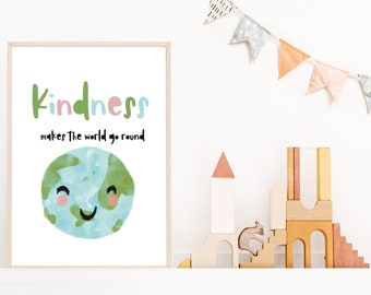 Kindness // World // Print // Artwork // Positive words // Inspirational quotes // Planet earth  // A4