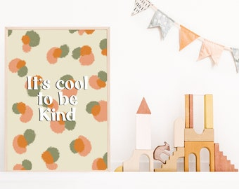 It's cool to be kind // Print // Artwork // Positive words // Inspirational quotes // Kindness  // A4