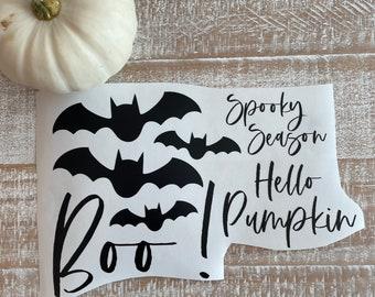 Halloween decals // Boo // Spooky season // Stickers // Vinyl // Hello pumpkin // Bats