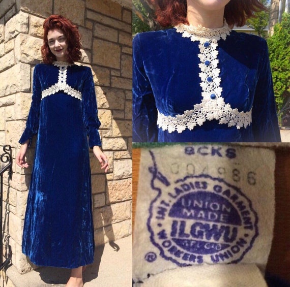 Vintage 60's Blue Velvet Hippie Dress, 60's Blue V