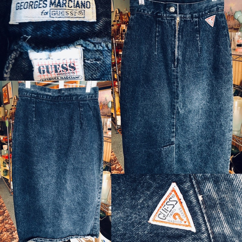 80's Vintage Guess Jean Skirt | 1980's Dark Denim Guess Jean High Rise  Rocker Chic Skirt | Size | Free Domestic Shipping
