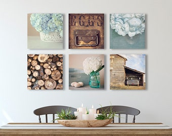 Rustic FARMHOUSE Gallery Wall Set - Six SQUARE Prints or Canvas Wraps, Blue and Brown Decor, Dining Room Wall Decor, Farmhouse Kitchen Art