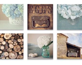 Farmhouse Wall Decor, Rustic Wall Art, SET of SIX Prints, Blue Wall Art, Rustic Wall Decor, Blue Wall Decor, Farmhouse Kitchen, Dining Room