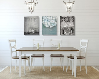 Dining Room Wall Art, Farmhouse Wall Decor, SET Of THREE Prints Or Canvases,