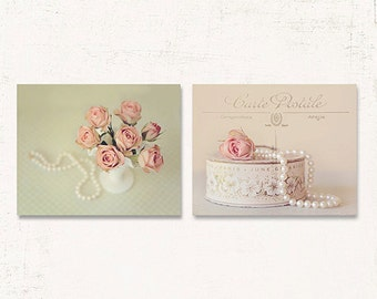 French Country Decor, Shabby Chic Wall Art, SET of TWO Prints or Canvases, Shabby Chic Decor, Rose Wall Art, Pink and Green Wall Art Set