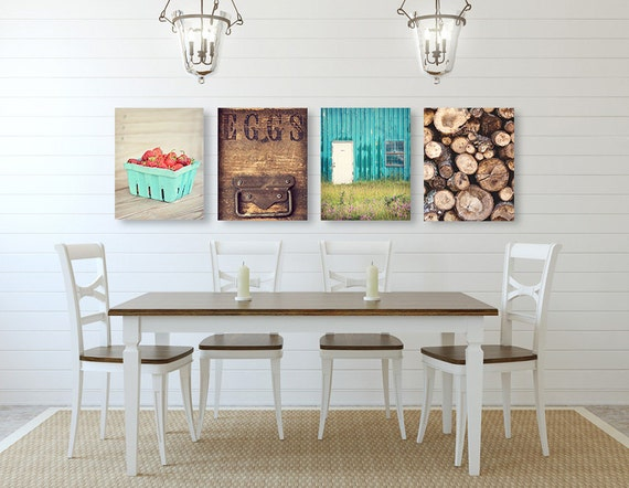 Farmhouse Wall Art Kitchen Wall Decor SET of FOUR Prints or | Etsy