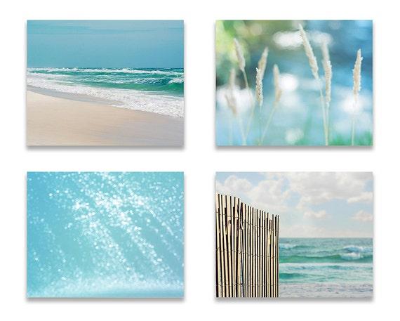 Blue Bathroom Decor Beach Wall Decor Set Of Four Prints Or Etsy