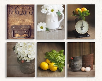 Set Of SIX Farmhouse Prints, Farmhouse Wall Art, Rustic Yellow Wall Decor,  Kitchen