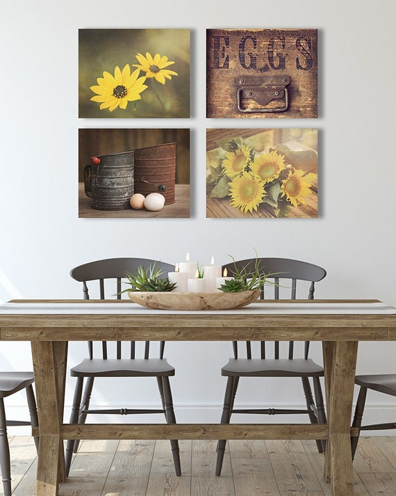 FARMHOUSE Wall Art Sets 4 Prints or Canvases Sunflower Wall