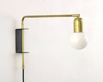 Brass Swing Wall Lamp with Black wall bracket and plug and switch | bedside lamp | Industrial lighting | wall lighting