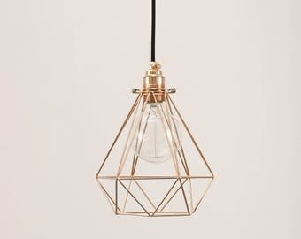 Diamond cage pendant with copper lamp holder