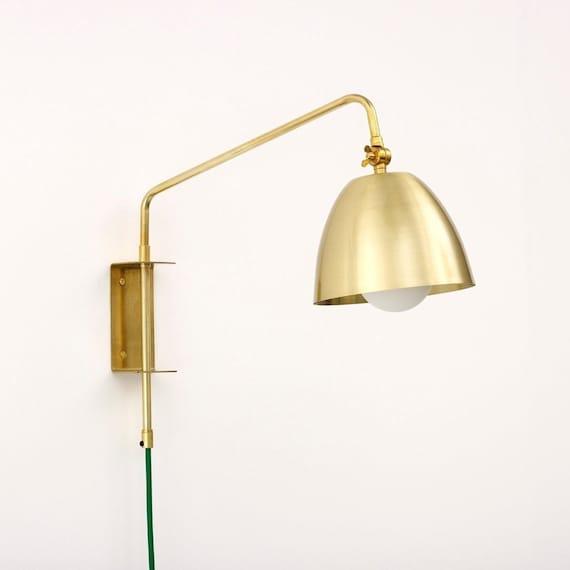 Swing Arm Wall Lamp With Lulu Shade And, Brass Swing Arm Wall Lamp Uk
