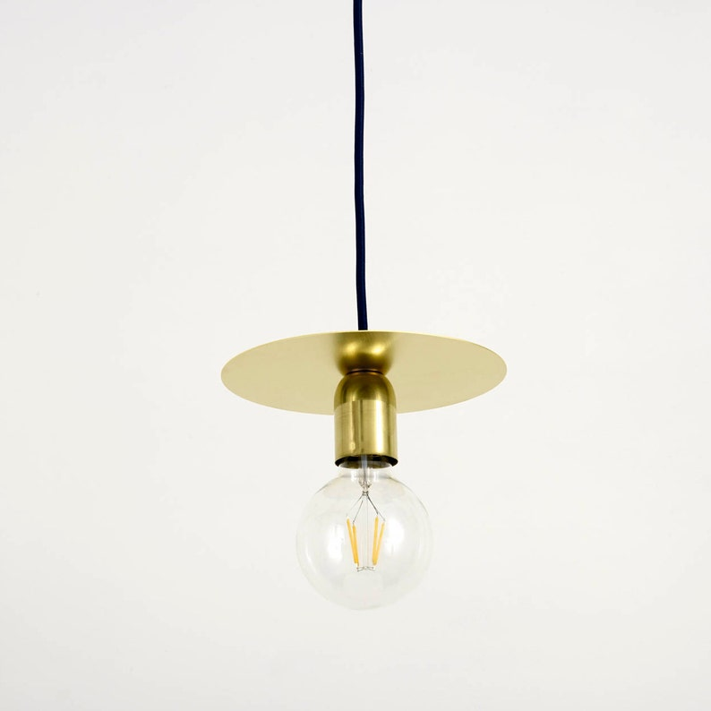 f803fc6075a Arc 2.0 Brass Disc Pendant light with fabric cable and brass