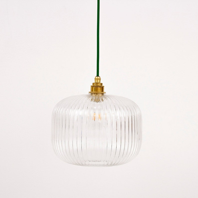 Reeded Glass Pendant Light image 0
