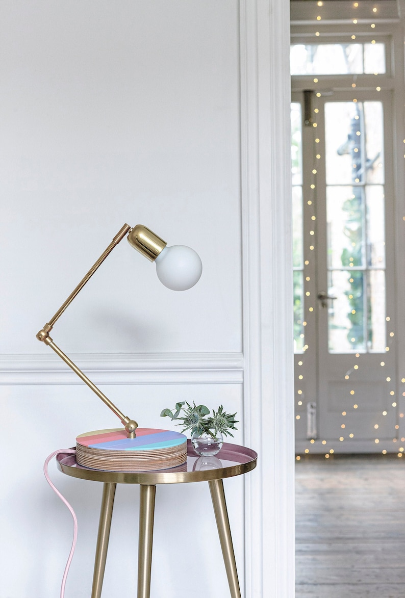 Olivia Rubin X Etsy Brass Table Lamp with Plywood base and image 0