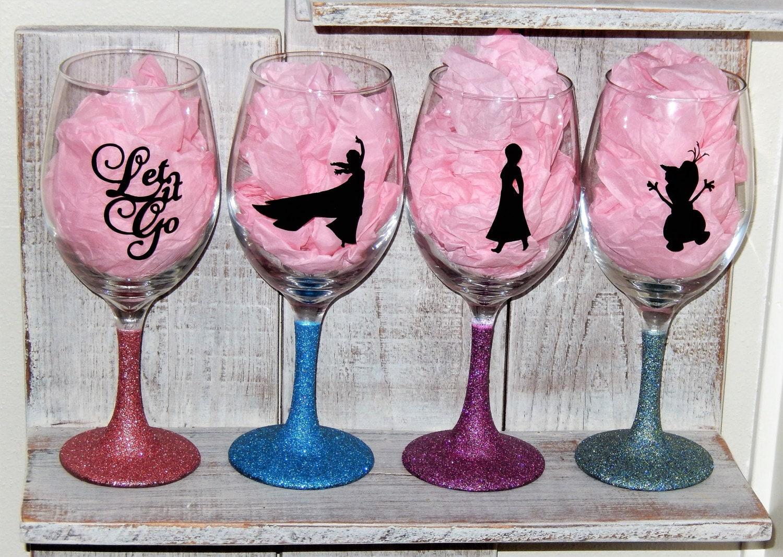 Wine glasses Set of 4 Disney Frozen Inspired Wine Glasses