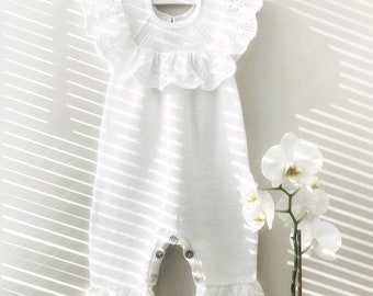 276efac510c Knitted Baby Romper  Knitted Bodysuit  Romper With Lace Ruffle  Cotton  Romper For Baby  Hand Knit Romper  Clasp Diaper Romper  MADE TO ORDER