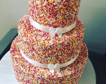 3 tier fake sprinkle cake