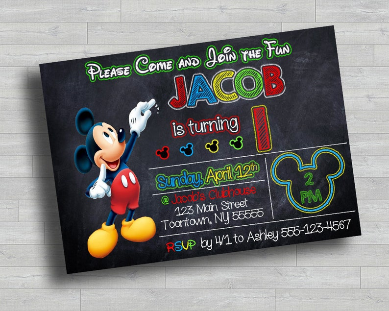 Mickey Mouse Birthday Invitation 5x7 MickeyMouse Clubhouse