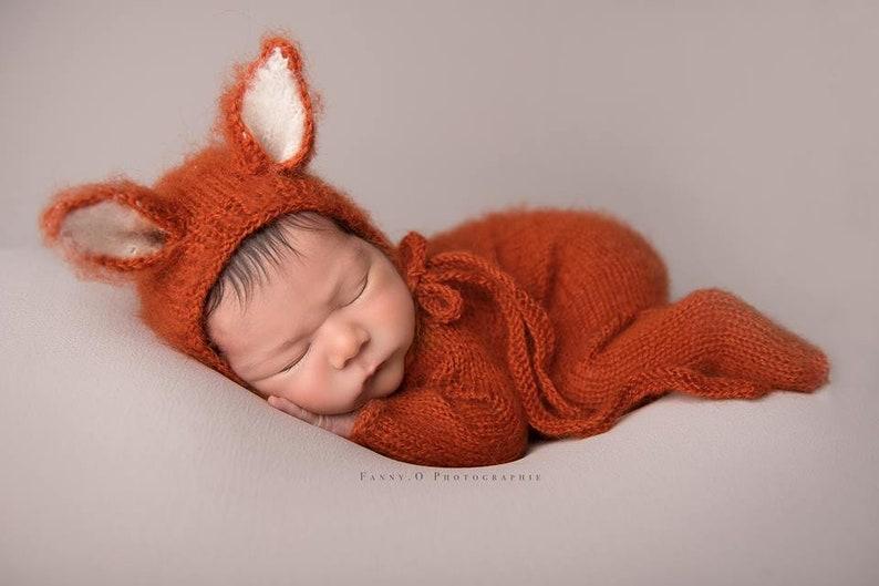 Newborn fox outfit Baby fox bonnetNewborn hat Newborn knit  a62af919da4a