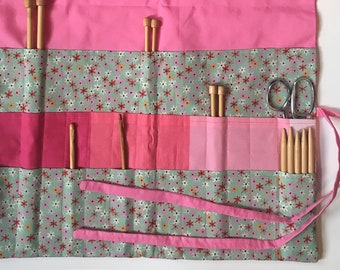 Knitting or Crochet Hook Organizing Roll Large Pink and Flowers Artist Yarncrafter