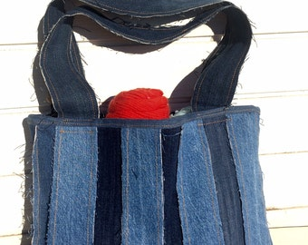 Upcycled Denim Project Bag or Tote for art, yarn, crafts and more