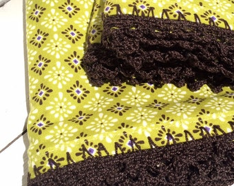 Pillowcases (set of 2) with hand crocheted edging Shabby Chic, Granny Chic, Cottage Chic, Green, purple and chocolate brown