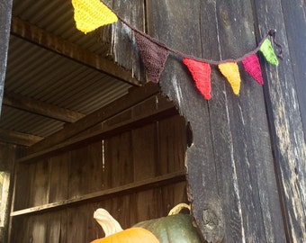 Crocheted Bunting - Autumn Holiday Decor, Shabby Chic, Granny Chic, Cottage Chic