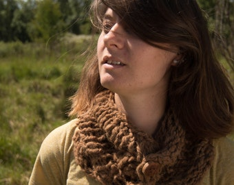 Chunky Alpaca Cowl with Handmade Wood Buttons - Handspun and Handknit - Natural Fiber, winter, scarf,