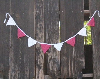 Crocheted Bunting - Shabby Chic, Granny Chic, Cottage Chic, Host Gift, Housewarming, Kids