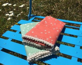 Pillowcases (set of 2) with hand crocheted edging Shabby Chic, Granny Chic, Cottage Chic, his and hers, organic fabric