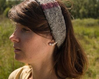 Knit Headband - Alpaca hand spun, hand dyed and hand knit - Natural Grey and Purple Color Block Headband