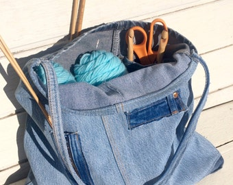 Upcycled Denim Patchy Project Bag or Tote for art, yarn, crafts and more