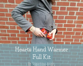 Hearts Hand Warmer Full Knitting Kit - handmade - gift - cold weather - natural fiber - hand spun wool