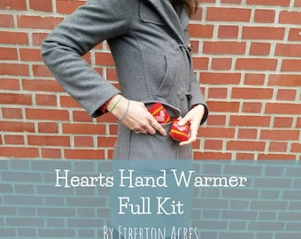 Hearts Hand Warmer Full Knitting Kit