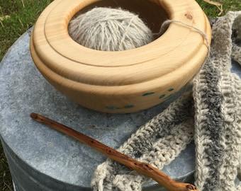 Cedar and Turquoise Bowl Hand Turned Yarn Bowl Display Bowl Handmade