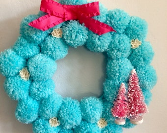 Pom Pom Aqua and Pink Wreath - Kitschy, Granny Chic, Shabby Chic