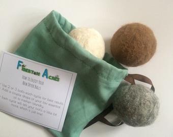 Alpaca Dryer Balls - 100% Alpaca Fiber - Hand Felted - Set of 3 - Laundry Supplies - Host Gift - Natural