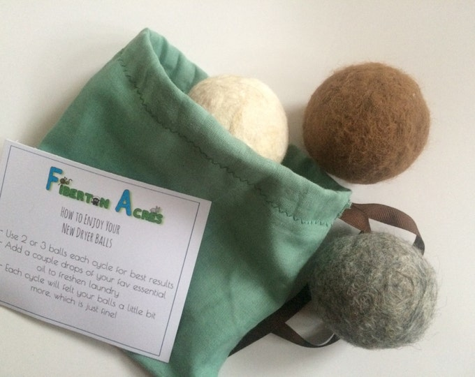 Featured listing image: Alpaca Dryer Balls - 100% Alpaca Fiber - Hand Felted - Set of 3 - Laundry Supplies - Host Gift - Natural