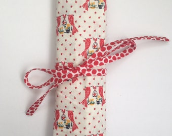 Medium sized needle or hook organizing roll Red Bird Cage Whimsical Fabric